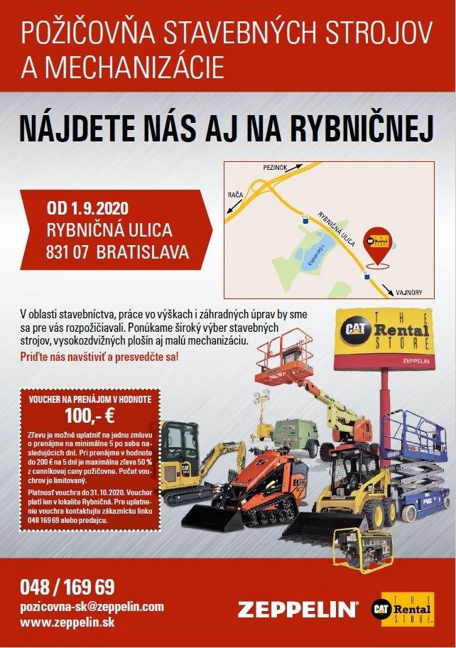 Požičovňu stavebných strojov a mechanizácie v Bratislave nájdete už aj na Rybničnej ulici