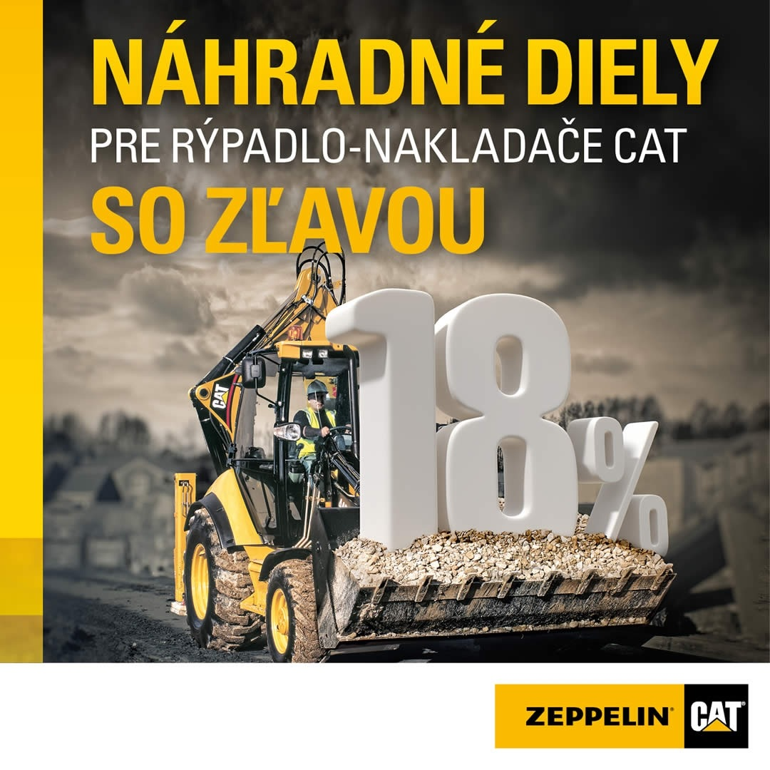 Zľava 18% na náhradné diely pre rýpadlo-nakladače Cat